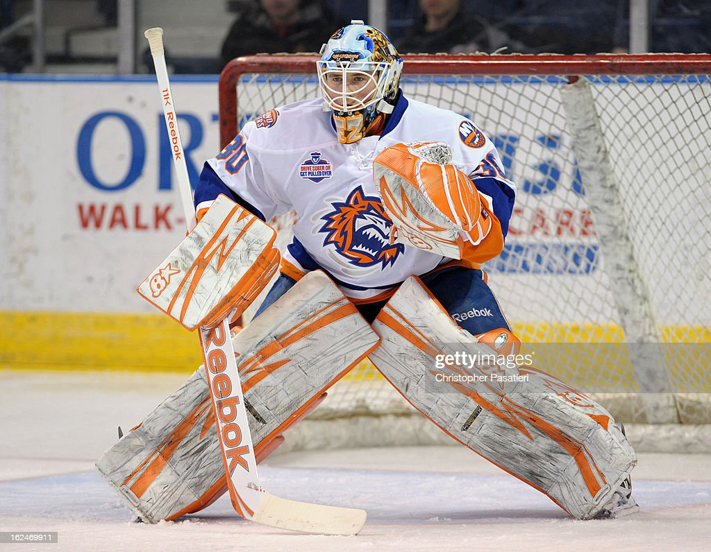 Kenny Reiter #30 of the Bridgeport Sound Tigers tends goal prior to an American Hockey League game against the Manchester Monarchs on February 23, 2013 at the Webster Bank Arena at Harbor Yard in Bridgeport, Connecticut.