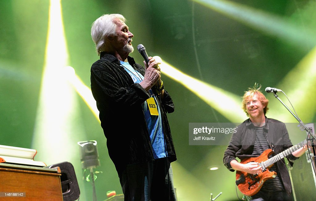 Kenny Rogers and Trey Anastasio perform with Phish onstage during Day 4 of Bonnaroo 2012 on June 10, 2012 in Manchester, Tennessee.
