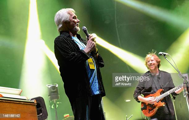 Kenny Rogers and Trey Anastasio perform with Phish onstage during Day 4 of Bonnaroo 2012 on June 10 2012 in Manchester Tennessee