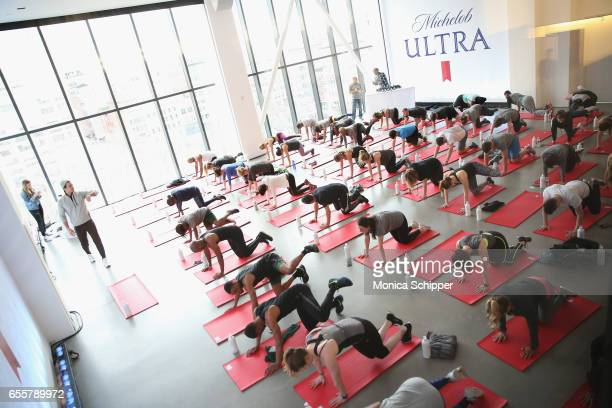 Kenny Santucci leads a workout during The Big Spring Event with Michelob ULTRA for their launch of a free dedicated skill on Amazon Alexa called...