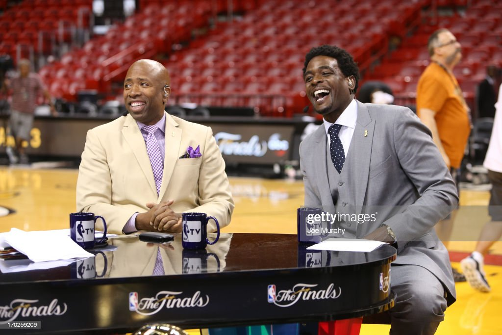 Kenny Smith and Chris Webber of NBATV discusses the game of the Miami Heat against the San Antonio Spurs after Game Two of the 2013 NBA Finals on June 9, 2013 at American Airlines Arena in Miami, Florida.