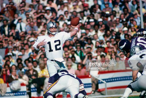 Kenny Stabler quarterback for the Oakland Raiders throws a pass during Super Bowl XI against the Minnesota Vikings at the Rose Bowl on January 9 1977...