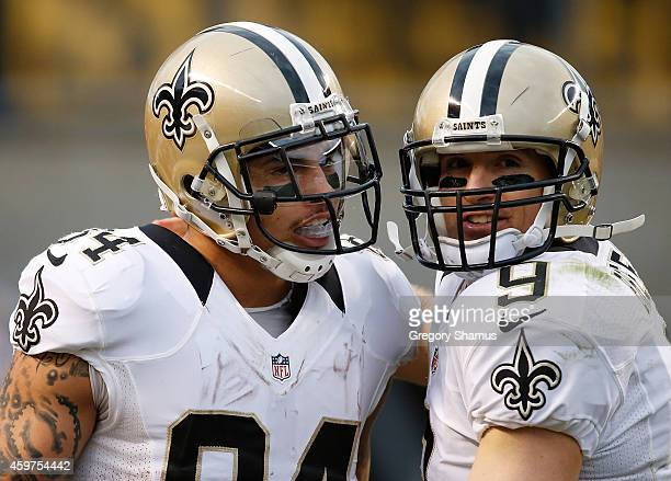 Kenny Stills celebrates his touchdown with Drew Brees of the New Orleans Saints during the third quarter against the Pittsburgh Steelers at Heinz...
