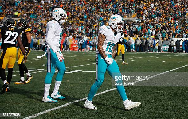 Kenny Stills of the Miami Dolphins reacts after making a catch in the first half during the Wild Card Playoff game at Heinz Field on January 8 2017...
