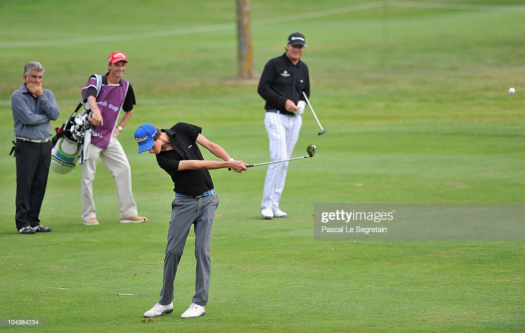 Kenny Subregis of France plays as Jarmo Sandelin of Sweden and Emile Borg stand in the background during the day one of the Vivendi Cup 2010 on...