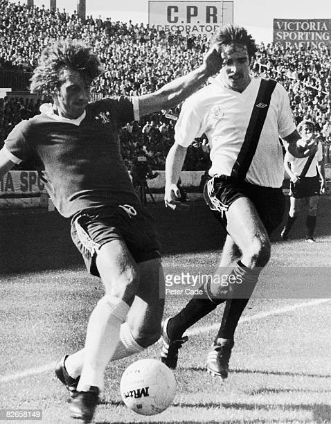 Kenny Swain of Chelsea in a midfield duel with Paul Power of Manchester City during a First Division match at Stamford Bridge London 16th September...