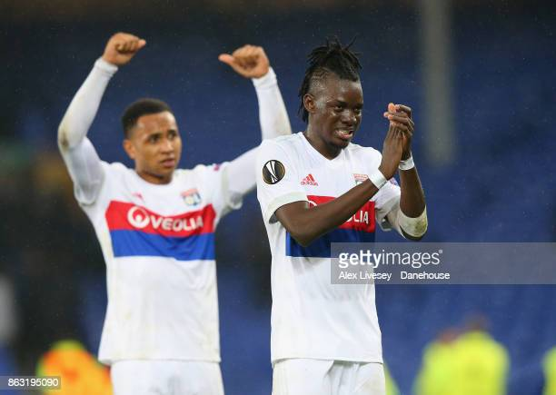 Kenny Tete and Bertrand Traore of Olympique Lyon celebrate after the UEFA Europa League group E match between Everton FC and Olympique Lyon at...