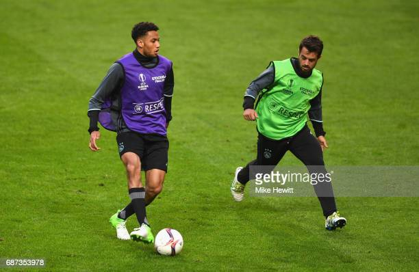 Kenny Tete of Ajax and Amin Younes of Ajax in action during a training session at The Friends Arena ahead of the UEFA Europa League Final between...