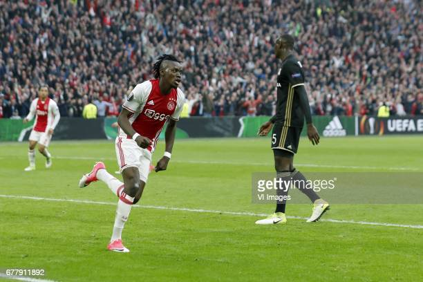 Kenny Tete of Ajax Bertrand Traore of Ajax Nicolas Nkoulou of Olympique Lyonnaisduring the UEFA Europa League semi final match between Ajax Amsterdam...
