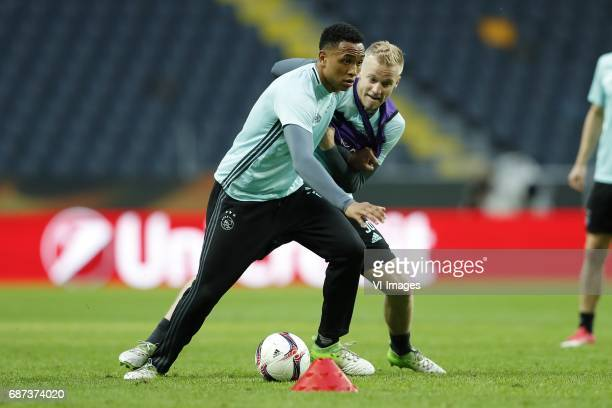 Kenny Tete of Ajax Donny van de Beek of Ajaxduring a training session prior to the UEFA Europa League final match between Ajax Amsterdam and...