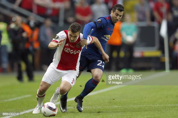 Kenny Tete of Ajax Henrikh Mkhitaryan of Manchester Unitedduring the UEFA Europa League final match between Ajax Amsterdam and Manchester United at...