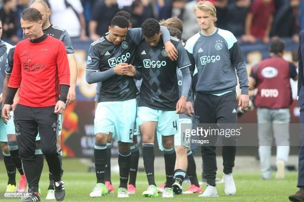 Kenny Tete of Ajax Jairo Riedewald of Ajax Kasper Dolberg of Ajaxduring the Dutch Eredivisie match between Willem II Tilburg and Ajax Amsterdam at...