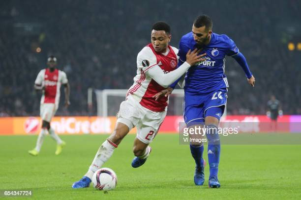 Kenny Tete of Ajax Youssef Toutouh of FC Kopenhagenduring the UEFA Europa League round of 32 match between Ajax Amsterdam and FC Copenhagen at the...