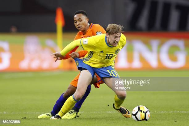 Kenny Tete of Holland Emil Forsberg of Sweden during the FIFA World Cup 2018 qualifying match between The Netherlands and Sweden at the Amsterdam...