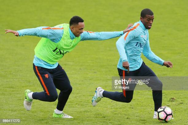 Kenny Tete of Holland Georginio Wijnaldum of Hollandduring a training session prior to the FIFA World Cup 2018 qualifying match between The...