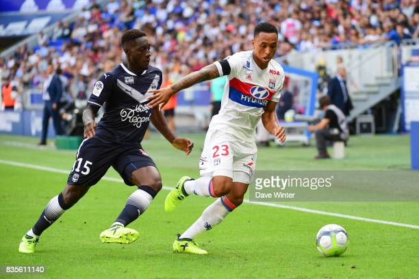Kenny Tete of Lyon and Alexandre Mendy of Bordeaux during the Ligue 1 match between Olympique Lyonnais and FC Girondins de Bordeaux at Groupama...