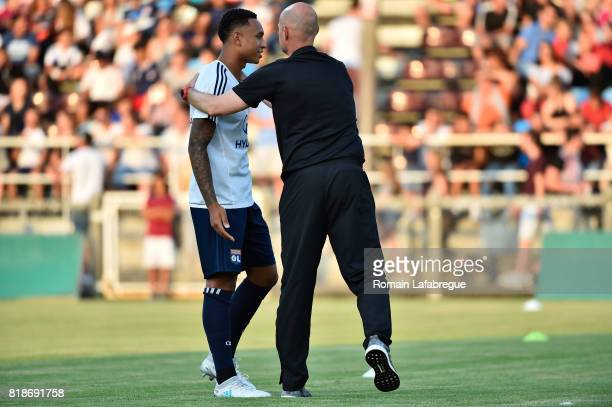 Kenny Tete of Lyon and Marcel Keizer of Amsterdam during the friendly match between Olympique Lyonnais Lyon and Ajax Amsterdam on July 18 2017 in...