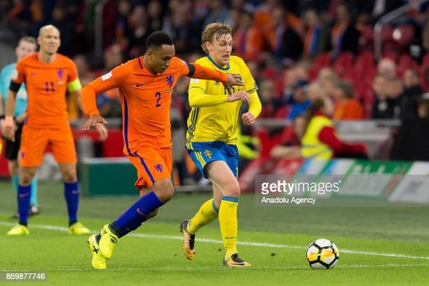 Kenny Tete of Netherlands and Emil Forsberg of Sweden battle for the ball during the FIFA 2018 World Cup Qualifier soccer match between Netherlands...
