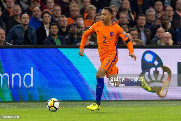 Kenny Tete of Netherlands controls the ball during the FIFA 2018 World Cup Qualifier between Netherlands and Sweden at Amsterdam ArenA on October 10...