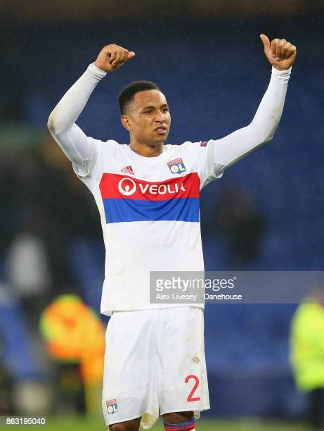 Kenny Tete of Olympique Lyon celebrates after the UEFA Europa League group E match between Everton FC and Olympique Lyon at Goodison Park on October...