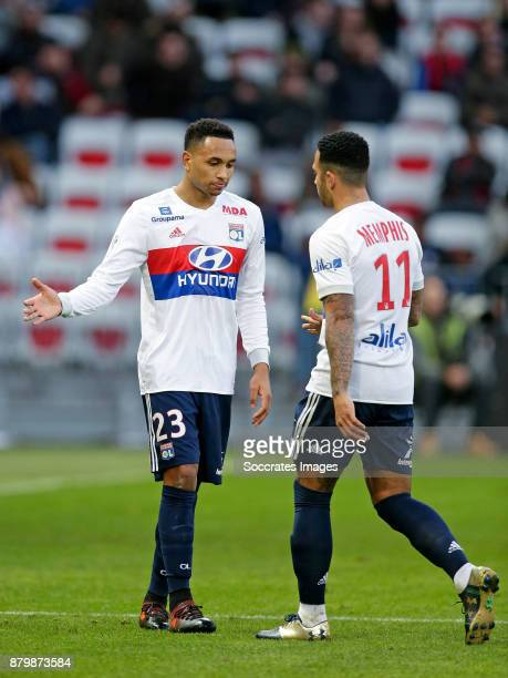 Kenny Tete of Olympique Lyon Memphis Depay of Olympique Lyon during the French League 1 match between Nice v Olympique Lyon at the Allianz Riviera on...