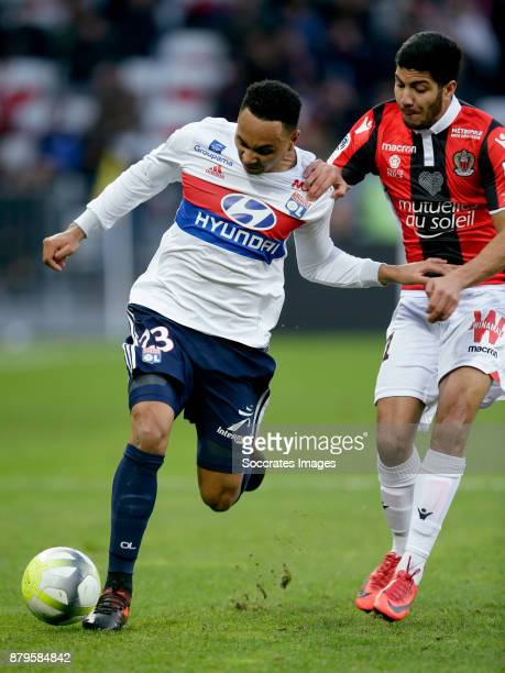 Kenny Tete of Olympique Lyon Nampalys Mendy of Nice during the French League 1 match between Nice v Olympique Lyon at the Allianz Riviera on November...