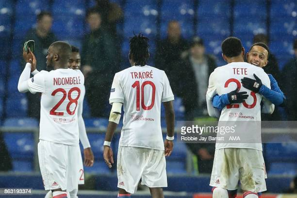 Kenny Tete of Olympique Lyonnais and Memphis Depay of Olympique Lyonnais celebrate at full time during the UEFA Europa League group E match between...