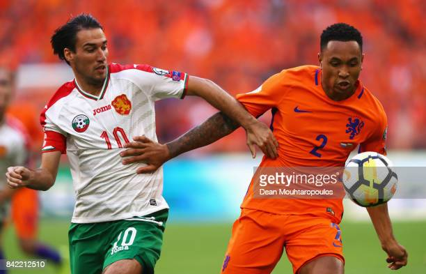 Kenny Tete of the Netherlands battles for the ball with Ivelin Popov of Bulgaria during the FIFA 2018 World Cup Qualifier between the Netherlands and...