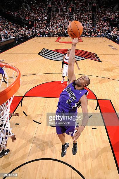 Kenny Thomas of the Sacramento Kings grabs a rebound during the game against the Portland Trail Blazers on December 15 2009 at the Rose Garden in...
