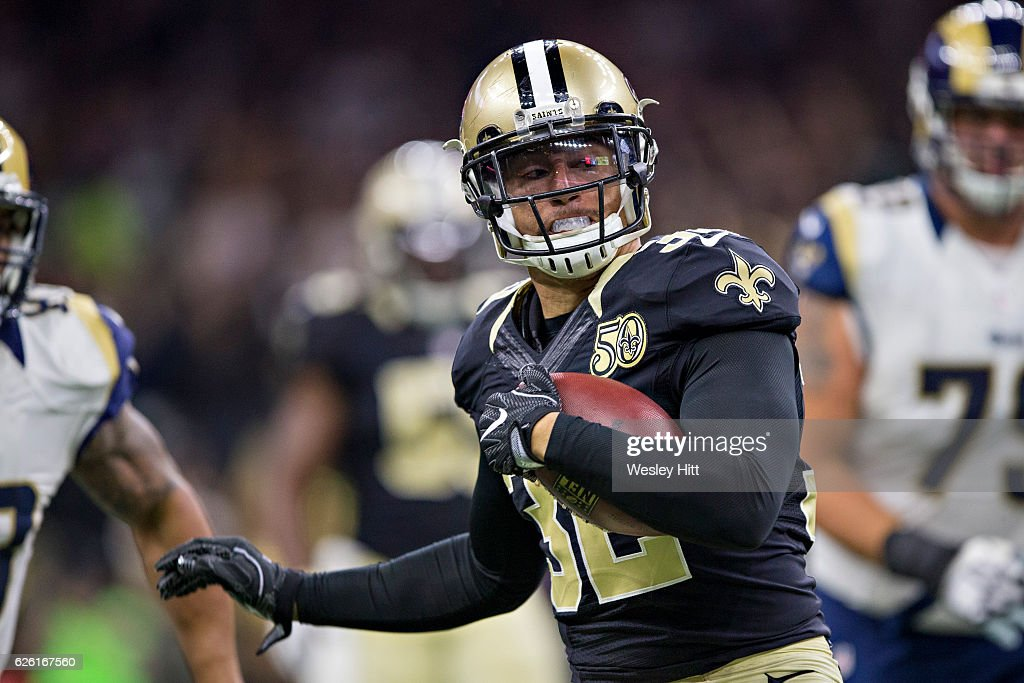 Kenny Vaccaro #32 of the New Orleans Saints returns a interception during a game against the Los Angeles Rams at Mercedes-Benz Superdome on November 27, 2016 in New Orleans, Louisiana. The Saints defeated the Rams 49-21.
