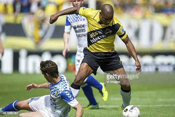 Kenny van Hoevelen of RKC Waalwijk Rydell Poepon of NAC Breda during the Dutch Eredivisie match between NAC Breda and RKC Waalwijk at Rat Verlegh...