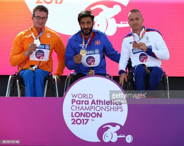 LR Kenny van Weeghel of Nederland Silver Medal Yassine Gharbi of Tunsia Gold Medal Richard Chiassaro of Great Britain receive his Bronze medal Men's...