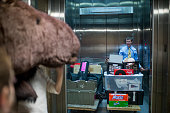 Kenny Weitzman from Sen Jeanne Shaeen's office helps move drinks and other items to their office as other staff wait to load a giant stuffed moose on...