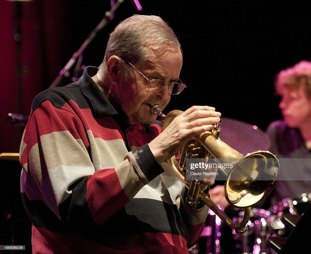 <a gi-track='captionPersonalityLinkClicked' href=/galleries/search?phrase=Kenny+Wheeler&family=editorial&specificpeople=4303745 ng-click='$event.stopPropagation()'>Kenny Wheeler</a> performs on stage during day 4 of London Jazz Festival at Royal Festival Hall on November 18, 2013 in London, United Kingdom.