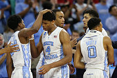 Kenny Williams Isaiah Hicks Brice Johnson Justin Jackson and Nate Britt of the North Carolina Tar Heels congratulate eachother after their 8566 win...
