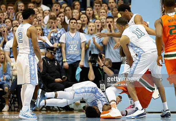 Kenny Williams of the North Carolina Tar Heels flips over during their game against the Miami Hurricanes at Dean Smith Center on February 20 2016 in...