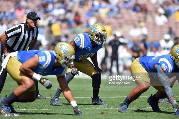 Kenny Young waits for the snap during a college football game between the Hawai'i Rainbow Warriors and the UCLA Bruins on September 09 2017 at the...