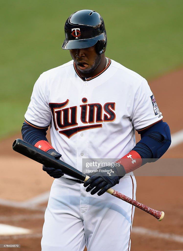 Kennys Vargas #19 of the Minnesota Twins reacts to striking out against the Kansas City Royals during the second inning of the game on June 8, 2015 at Target Field in Minneapolis, Minnesota. The Royals defeated the Twins 3-1.