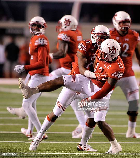 Kenric Young and teammate Gionni Paul both of the Utah Utes celebrates a first half fumble recovery against the California Golden Bears at RiceEccles...