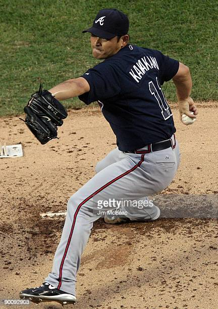Kenshin Kawakami of the Atlanta Braves throws a pitch against the New York Mets on August 20 2009 at Citi Field in the Flushing neighborhood of the...
