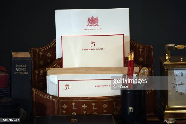 LONDON ENGLAND JULY Kensington Palaceheaded writing paper is displayed on a desk used by Princess Diana in Kensington Palace at the Royal Gifts...