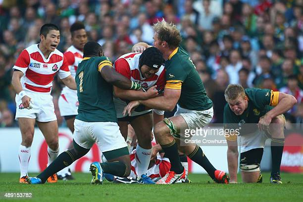 Kensuke Hatakeyama of Japan drives forward during the 2015 Rugby World Cup Pool B match between South Africa and Japan at the Brighton Community...