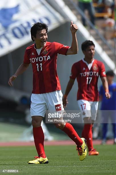 Kensuke Nagai of Nagoya Grampus celebrates his opening goal during the JLeague match between Nagoya Grampus and Shonan Bellmare at Mizuho Stadium on...