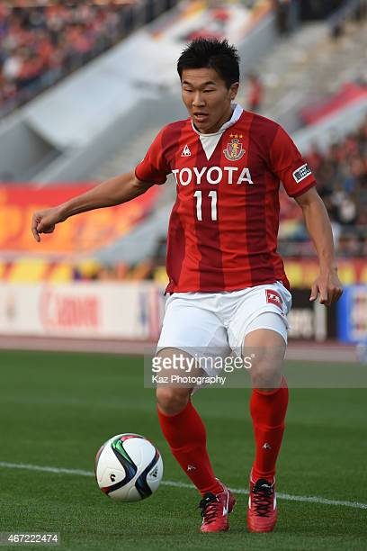 Kensuke Nagai of Nagoya Grampus controls the ball during the JLeague match between Nagoya Grampus and Kashima Antlers at Mizuho Stadium on March 22...