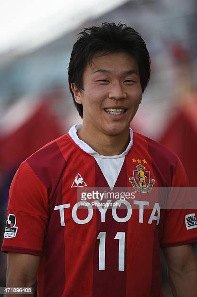 Kensuke Nagai of Nagoya Grampus smiles after the hero interview during the JLeague match between Nagoya Grampus and Shonan Bellmare at Mizuho Stadium...