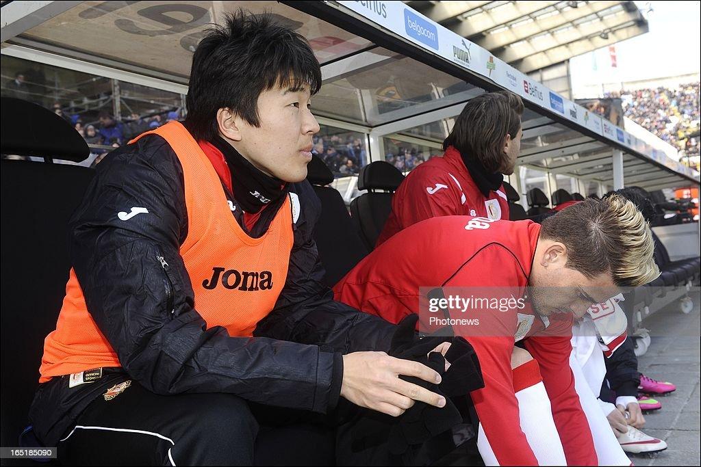 Kensuke Nagai of Standard pictured on the bench before the Jupiler League match between Club Brugge and Standard de Liege on April 01, 2013 in the Jan Breydel Stadium in Brugge, Belgium.