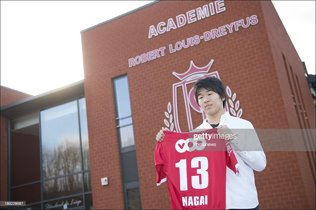 Kensuke Nagai poses during an official presentation as new player of Standard Liege on January 28, 2013 in Liege, Belgium.