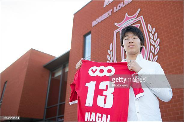 Kensuke Nagai poses during an official presentation as new player of Standard Liege on January 28 2013 in Liege Belgium