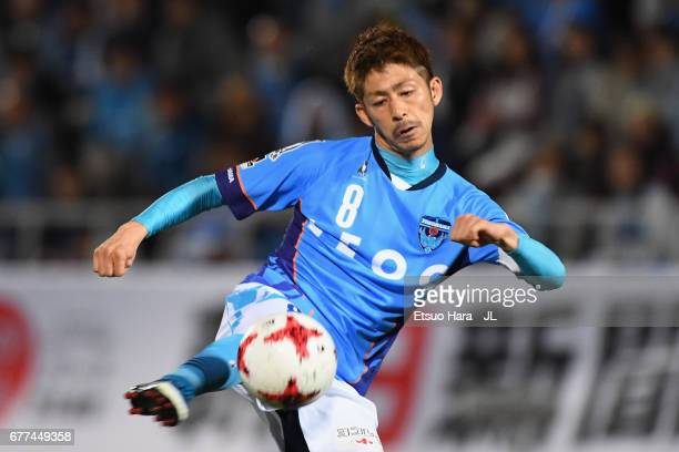 Kensuke Sato of Yokohama FC shoots at goal during the JLeague J2 match between Yokohama FC and Ehime FC at Nippatsu Mitsuzawa Stadium on May 3 2017...