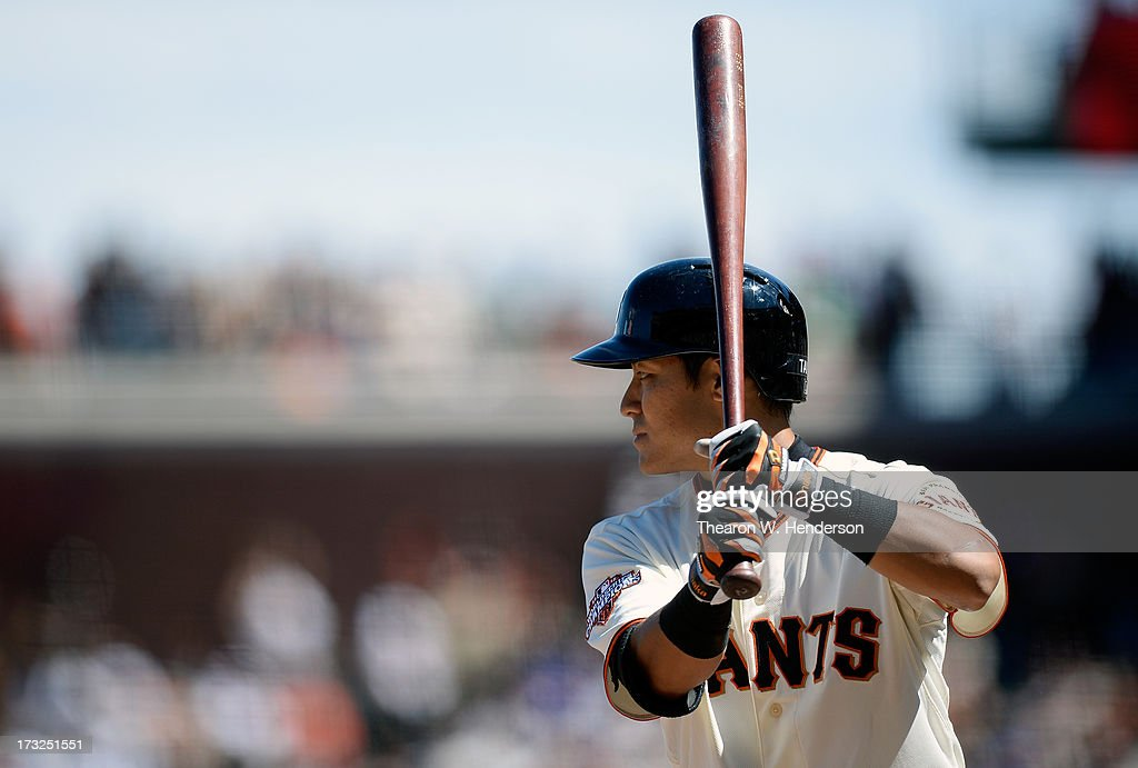Kensuke Tanaka #37 of the San Francisco Giants bats against the New York Mets at AT&T Park on July 10, 2013 in San Francisco, California.